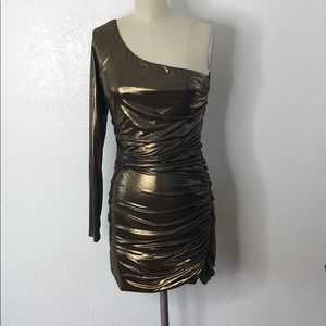 Kylie metallic gold one shoulder sexy party dress